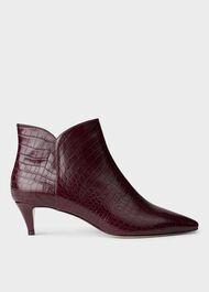 Abbey Ankle Boot, Burgundy Croc, hi-res