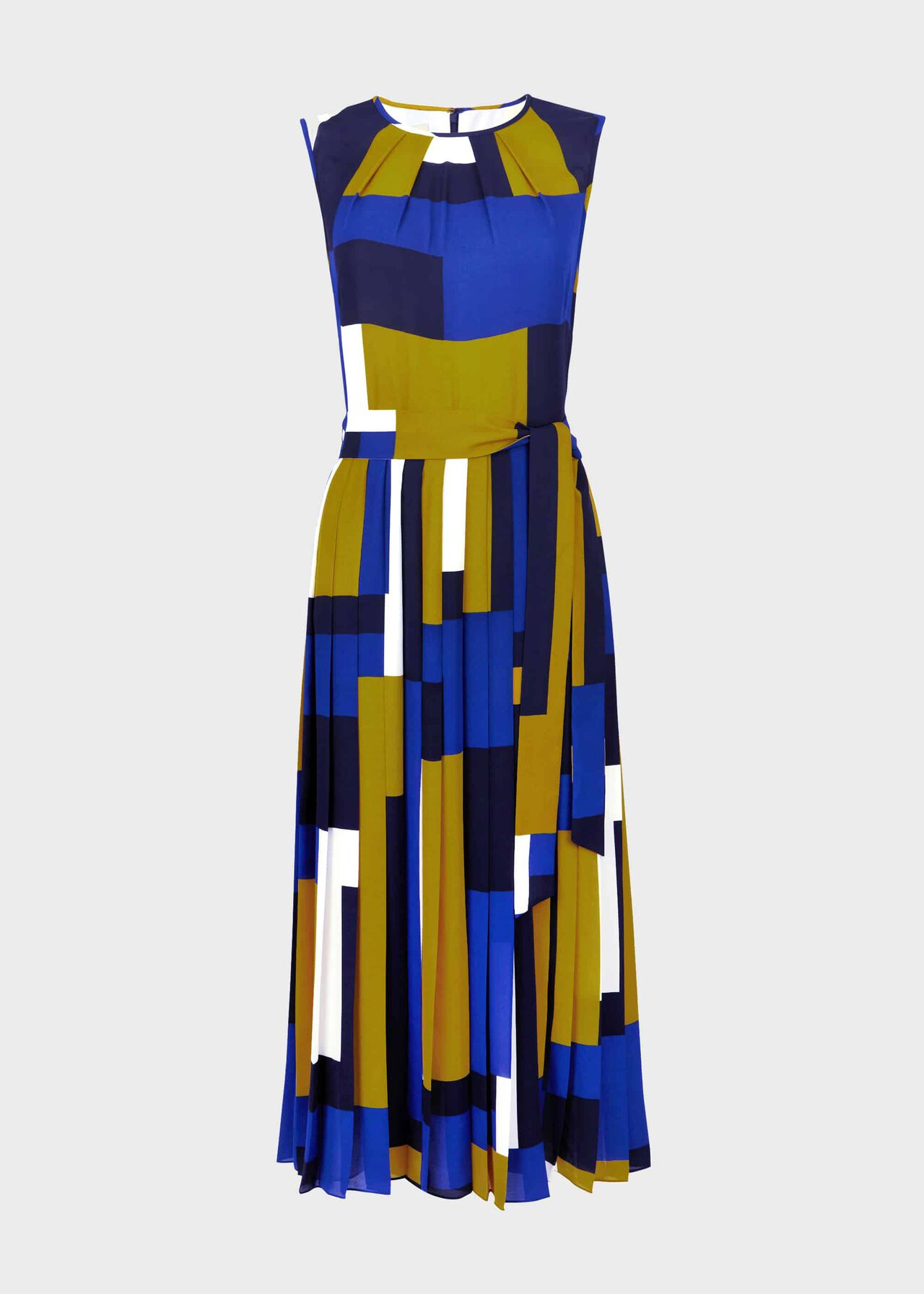 Alba Colourblock Midi Dress Blue Multi