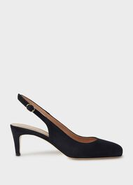 Emma Suede Stiletto Slingback Court Shoes, Navy, hi-res