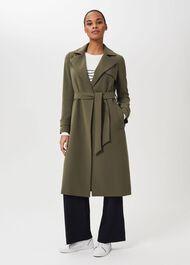 Serena Wrap Coat, Dark Olive, hi-res