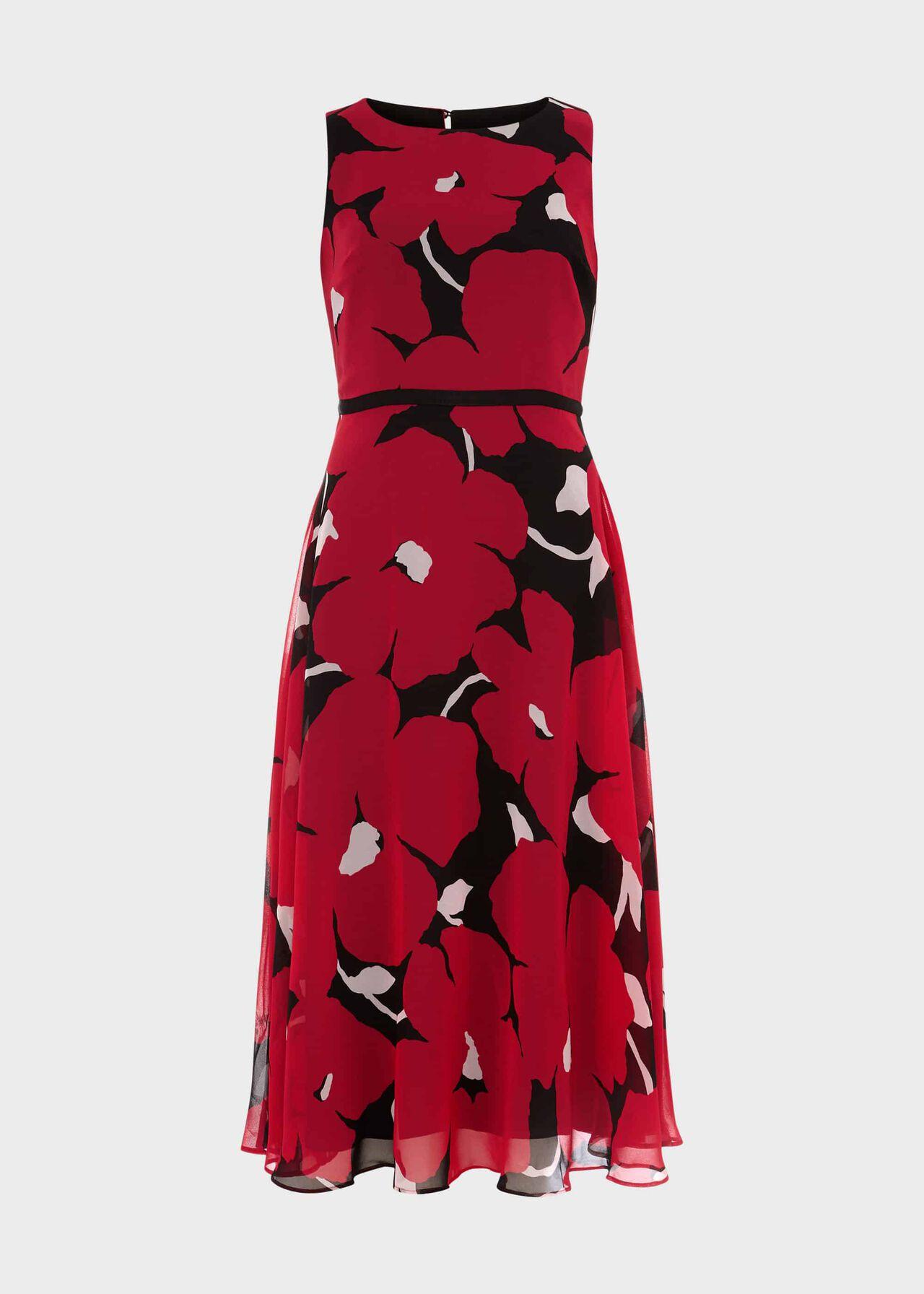 Petite Carly Floral Midi Dress Black Pink