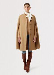 Aurora Wool Cashmere Cape, Camel, hi-res
