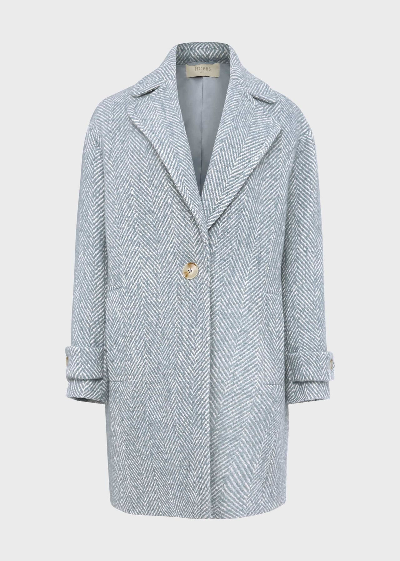 Petite Carmen Herringbone Coat With Wool Blue Ivory
