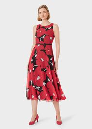 Carly Floral Midi Dress, Black Pink, hi-res