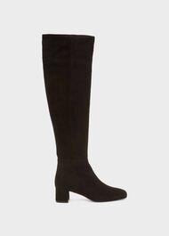 Khloe Leather Over Knee Boots, Black, hi-res