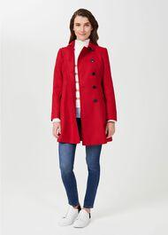 Odette Wool Coat, Red, hi-res
