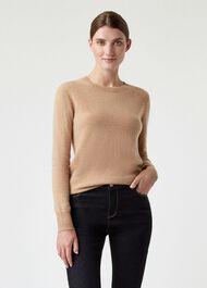 Freya Cashmere Sweater, Camel, hi-res