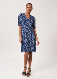 Lina Jersey Floral Dress, French Nvy Whte, hi-res