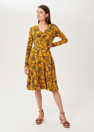 Nia Jersey Dress, Yellow Navy, hi-res