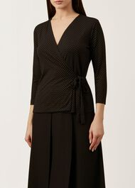 Clarissa Wrap Top, Black Ivory, hi-res
