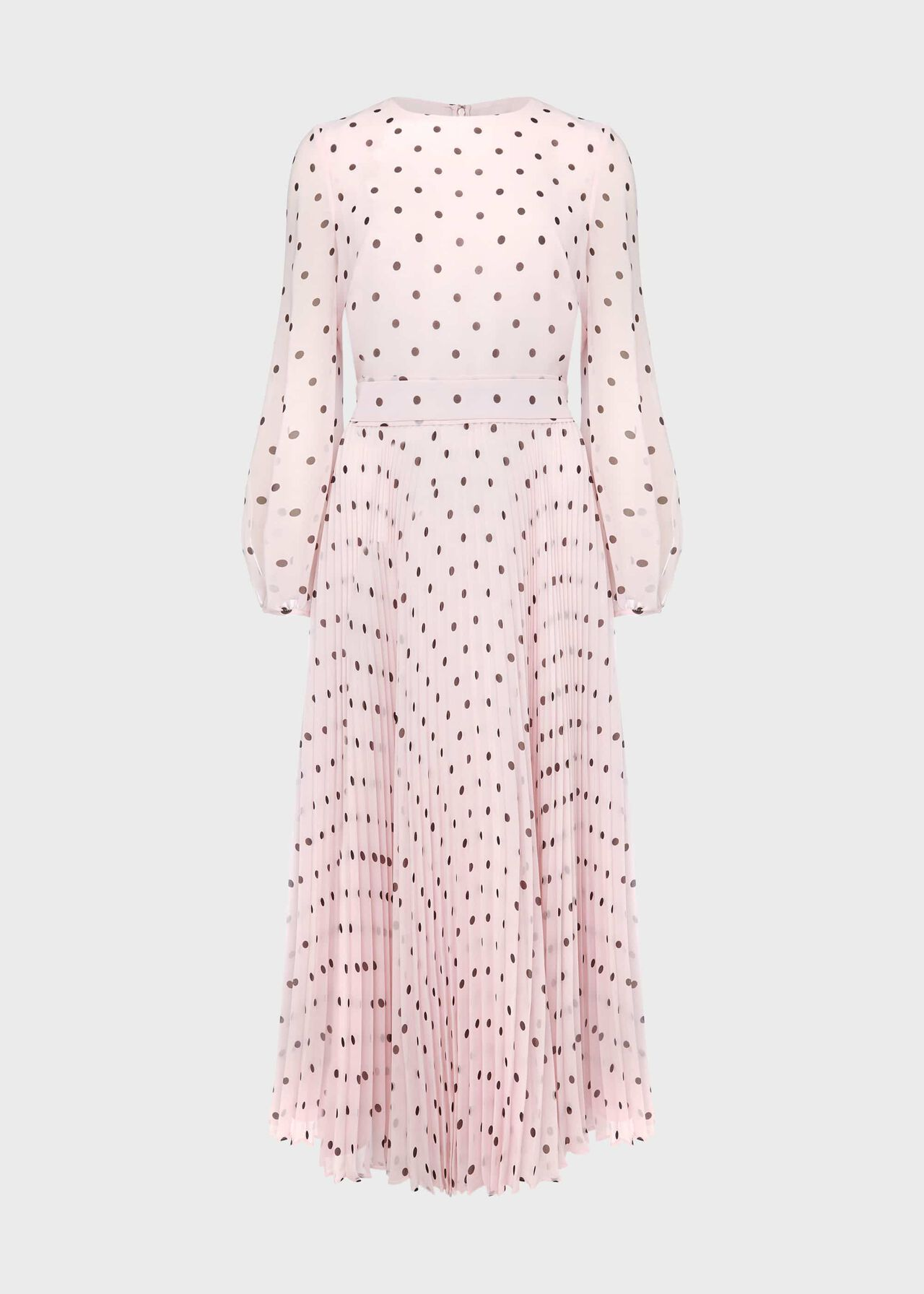 Selena Spot Pleated Dress Pale Pink Black