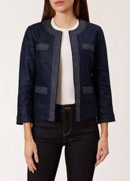 Avalynn Linen Jacket, Navy White, hi-res