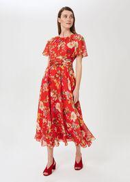 Sarah Floral Midi Dress, Flame Red, hi-res