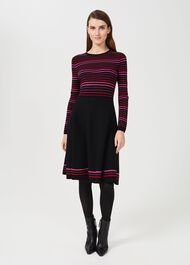 Petite Gigi Knitted Dress, Black Multi, hi-res