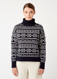 Halley Sweater, Navy Ivory, hi-res