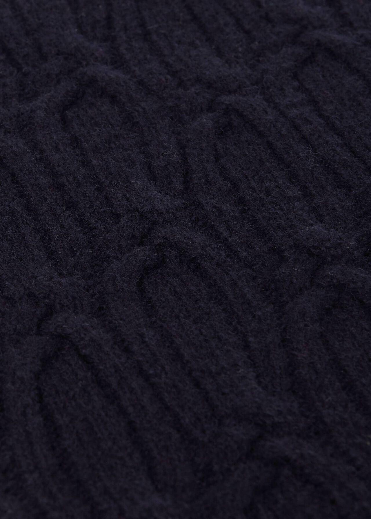 Prue Wool Cable Jumper, Navy, hi-res