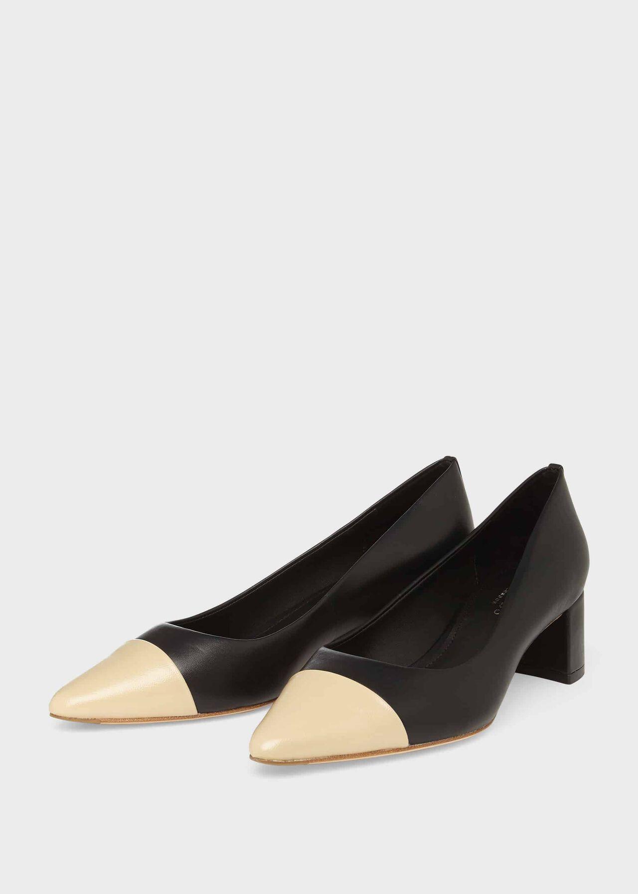 Natalie Leather Court Shoes Black