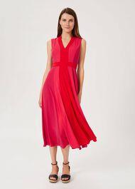 Jilly Colourblock V Neck Dress, Raspberry Red, hi-res
