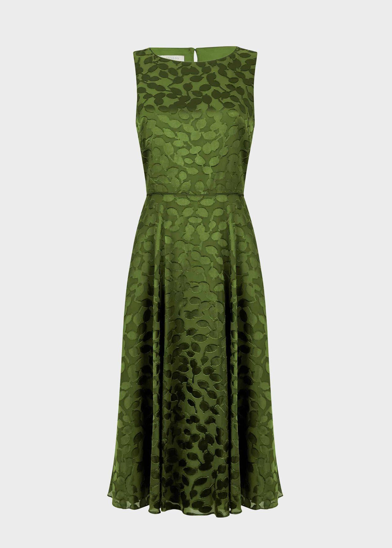 Adaline Jacquard Fit And Flare Dress Fern Green