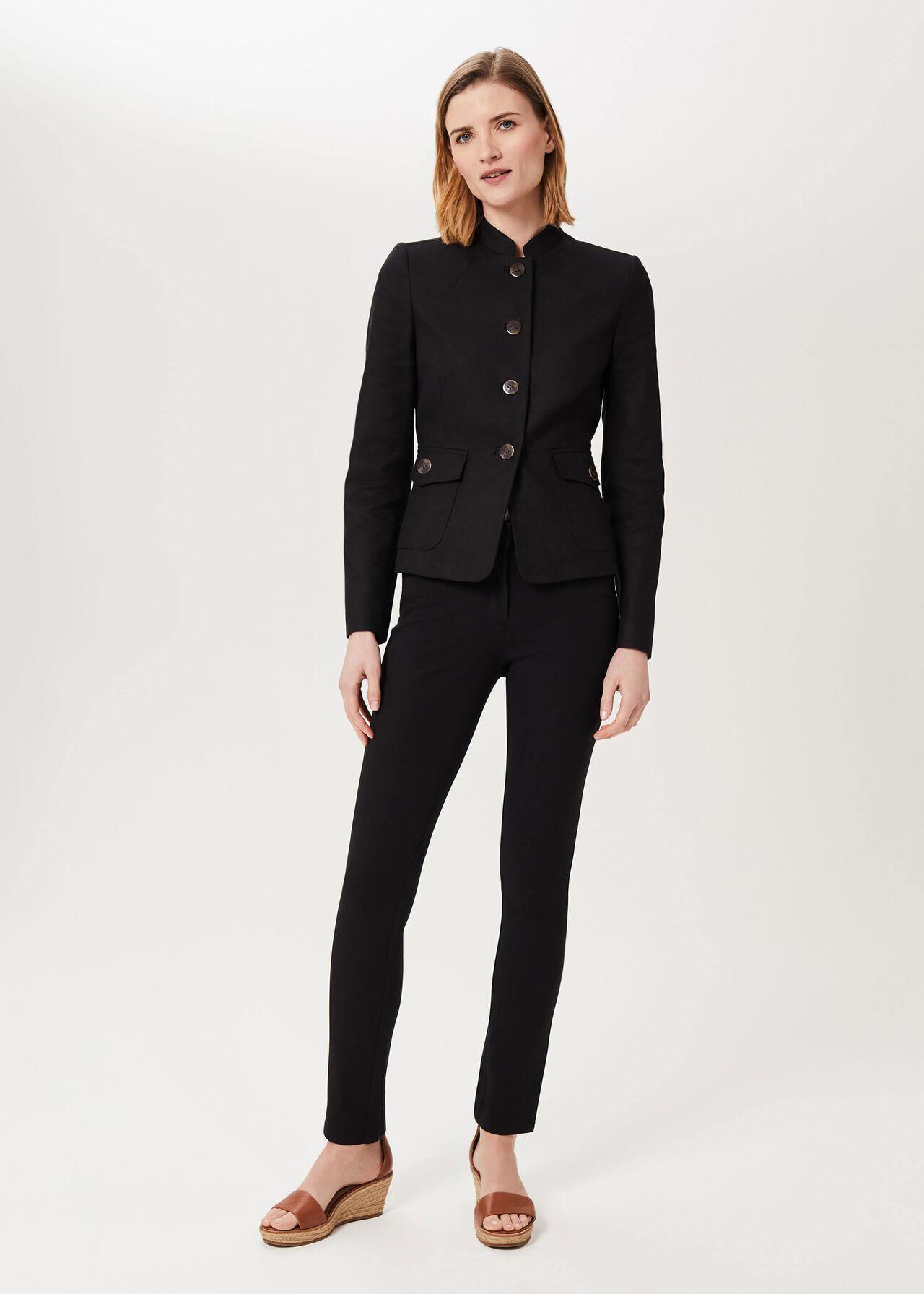 Mindy Linen Blend Jacket, Black, hi-res