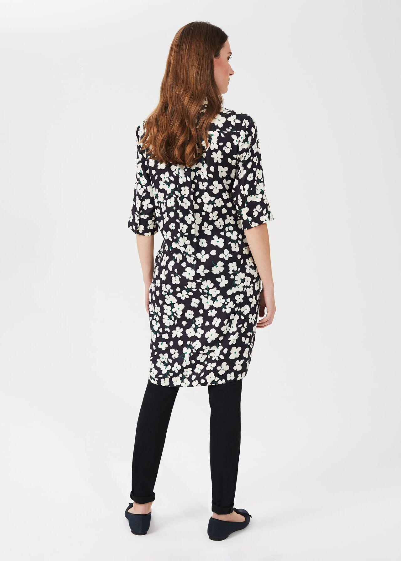 Marciella Floral Tunic Dress, Navy Buttrcream, hi-res