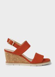 Verona Suede Wedge Sandals, Flame Red, hi-res