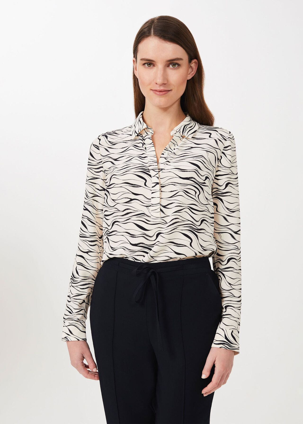 Meredith Printed Shirt, Buttrcream Navy, hi-res