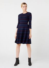 Katie Knitted Dress, Navy Multi, hi-res