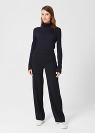 Abigail Wide Trousers, Navy, hi-res