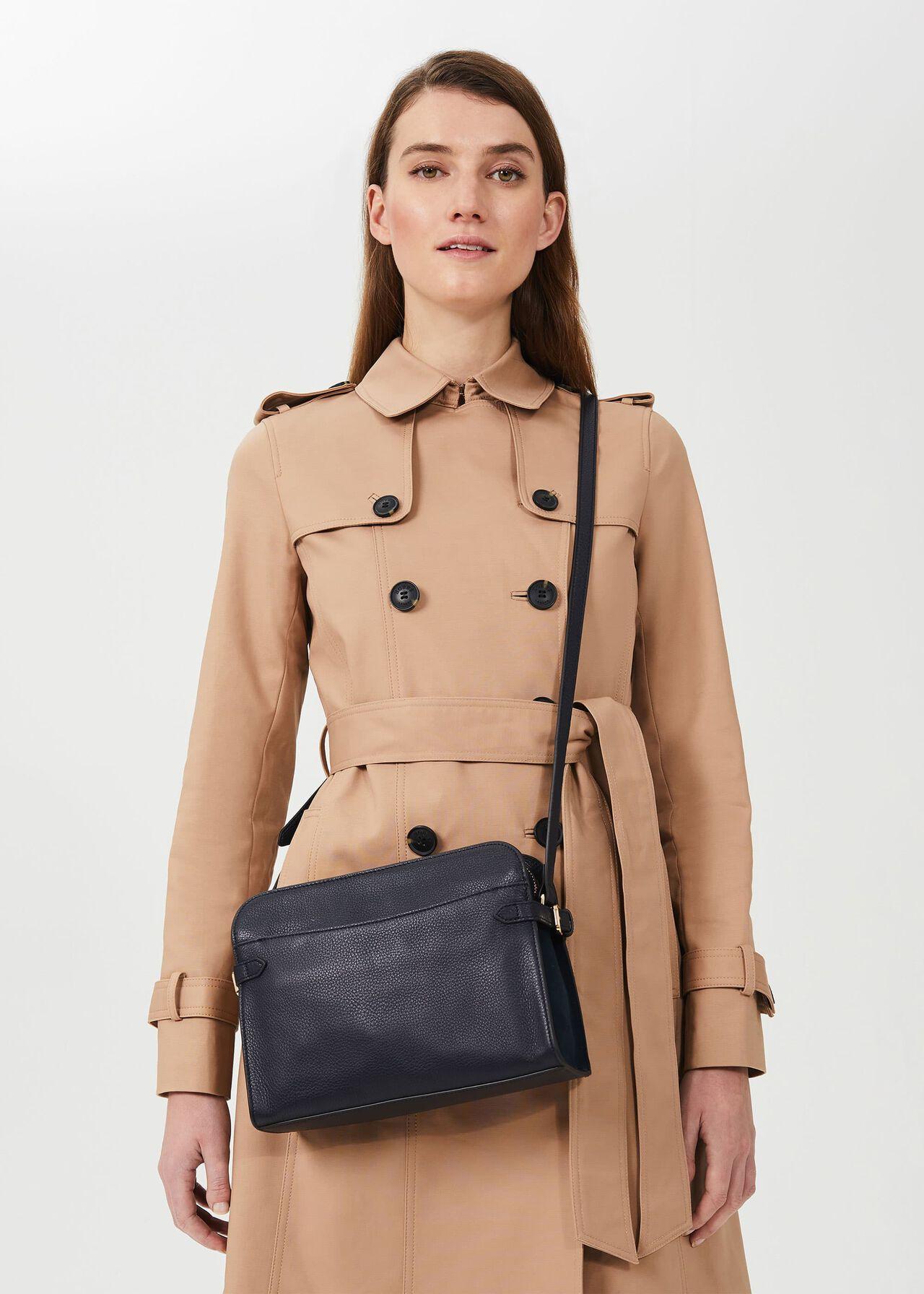 Kimberwick Leather Cross Body Bag, Navy, hi-res