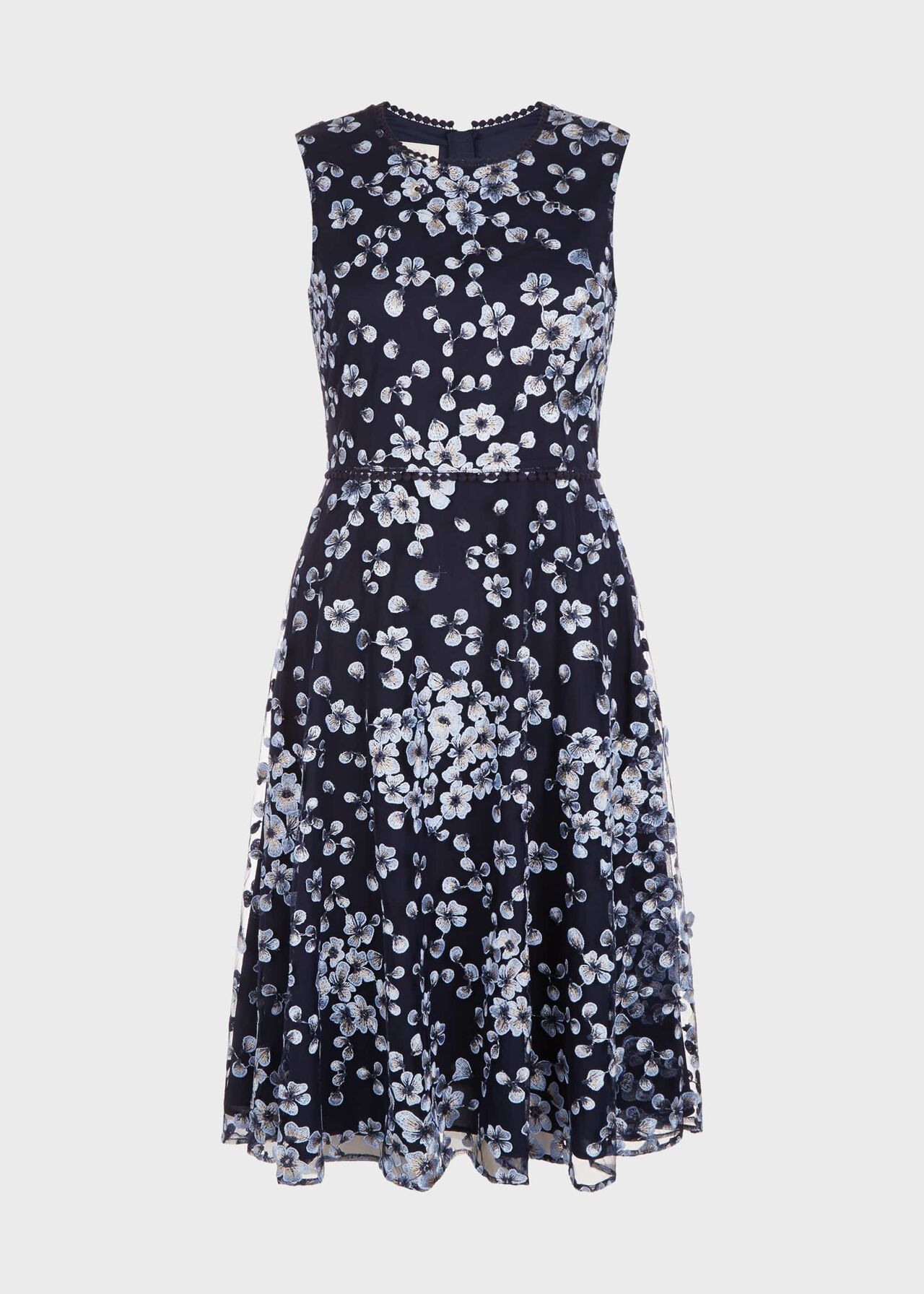Lilith Embroidered Floral Dress Navy Blue
