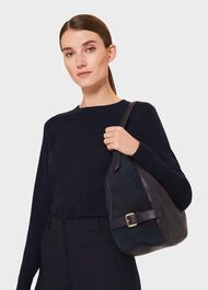 Cleveland Leather Shoulder Bag, Navy, hi-res