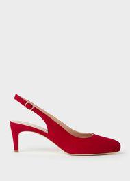 Emma Suede Stiletto Slingback Court Shoes, Scarlet Red, hi-res