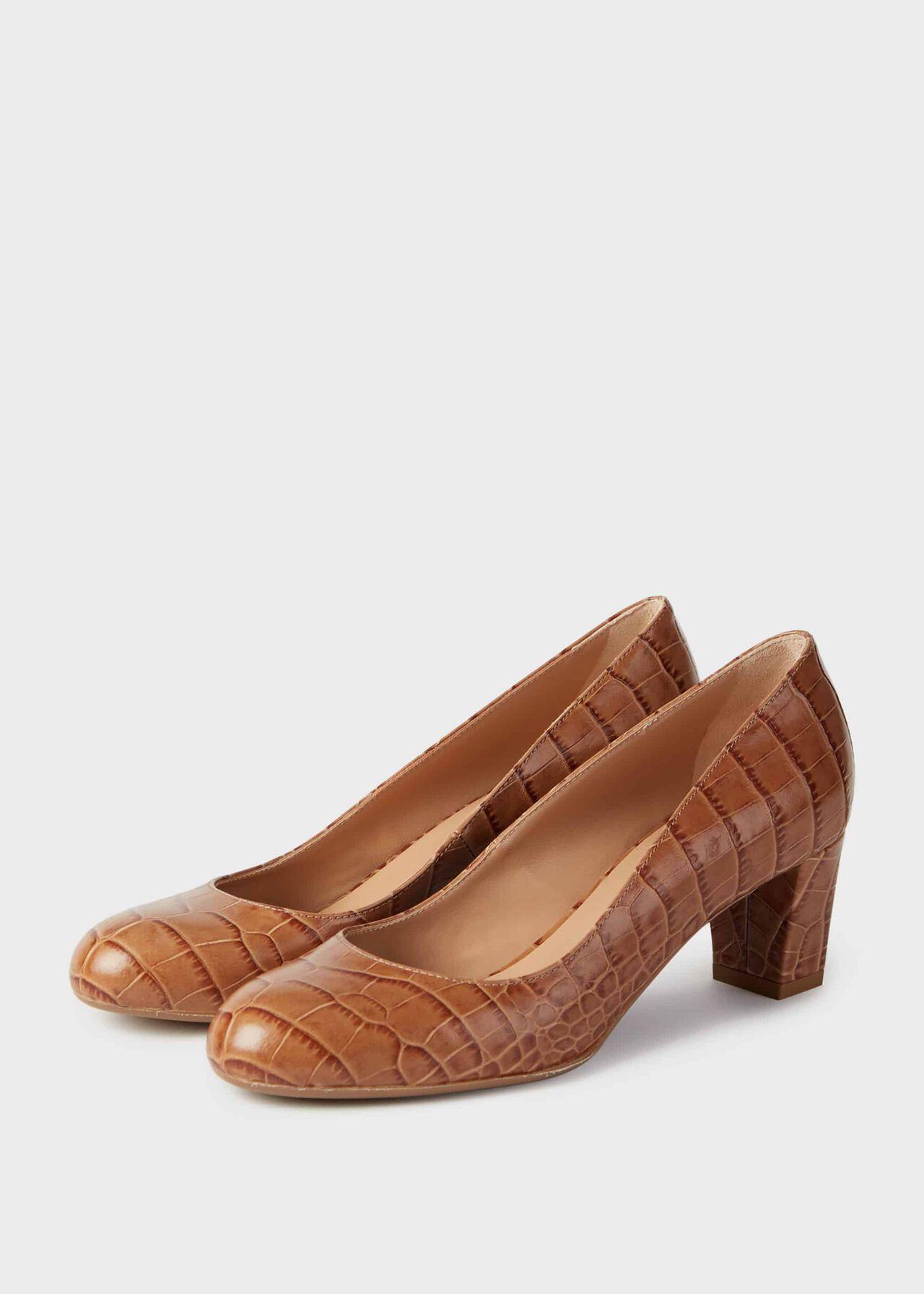 Amber Crocodile Print Block Heel Court Shoes Natural