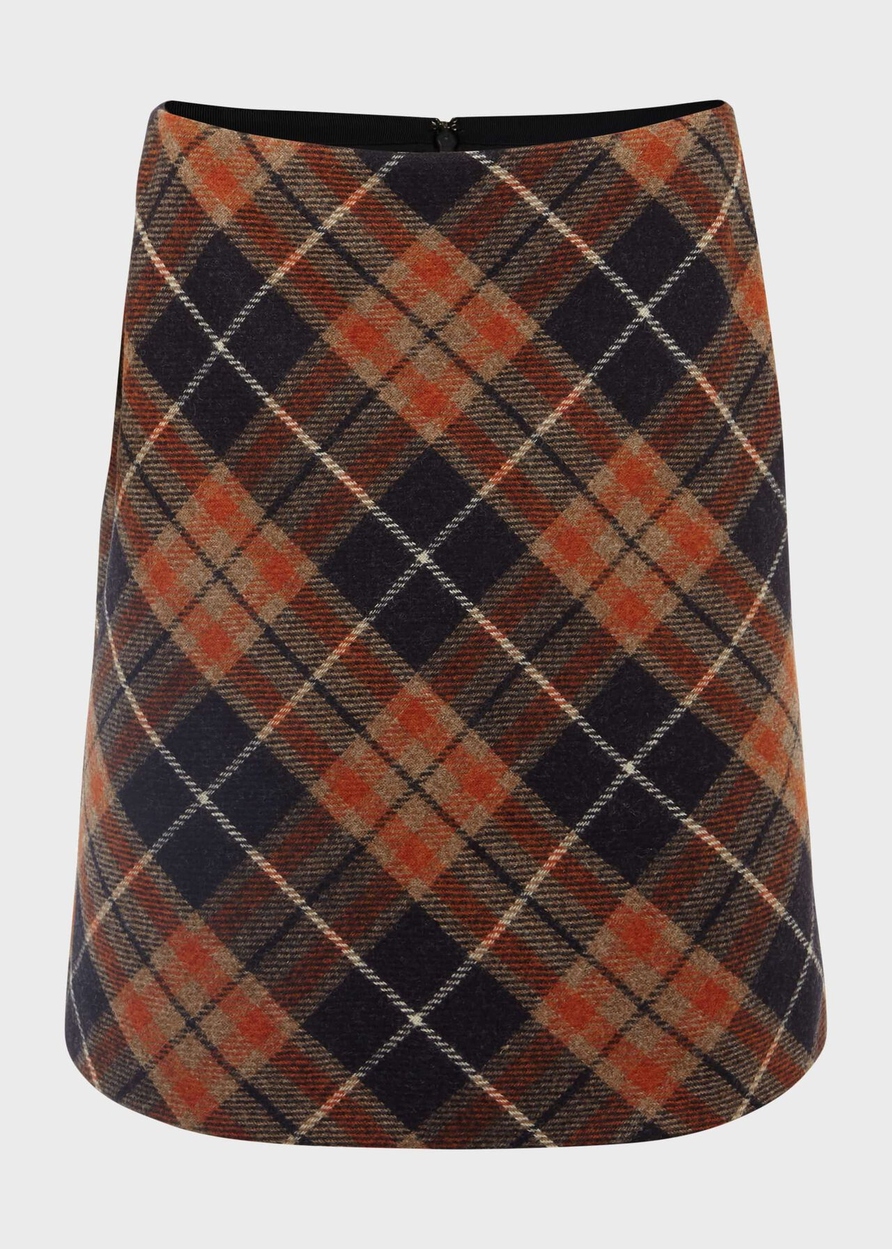 Elea Wool Check A Line Skirt Orange Camel
