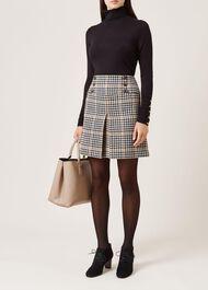 Joy Check Wool Skirt, Camel Black, hi-res