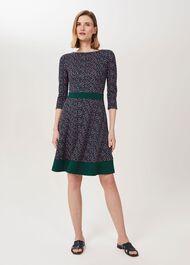 Seasalter Ponte Printed Dress, Navy Multi, hi-res