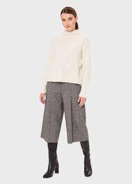 Dina Tweed Wide Culottes With Wool, Grey, hi-res
