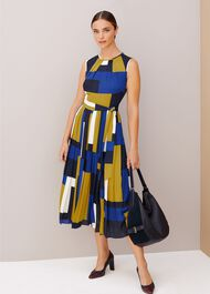 Alba Colourblock Midi Dress, Blue Multi, hi-res