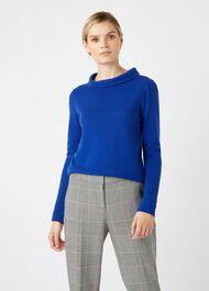 Audrey Wool Cashmere Sweater, Cobalt, hi-res