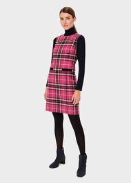 Petite Margot Wool Check Shift Dress, Pink Navy, hi-res