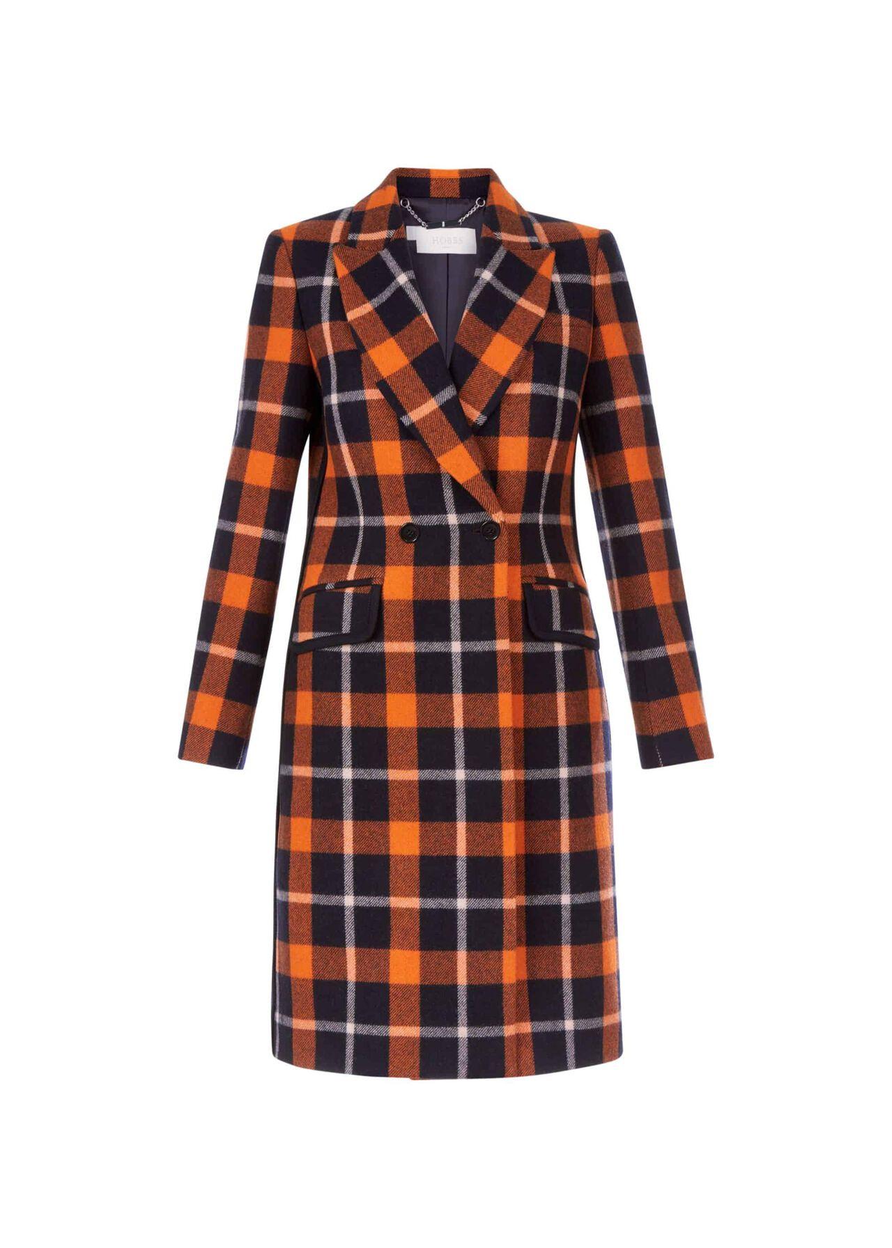 Rosaline Wool Blend Coat Rust Navy