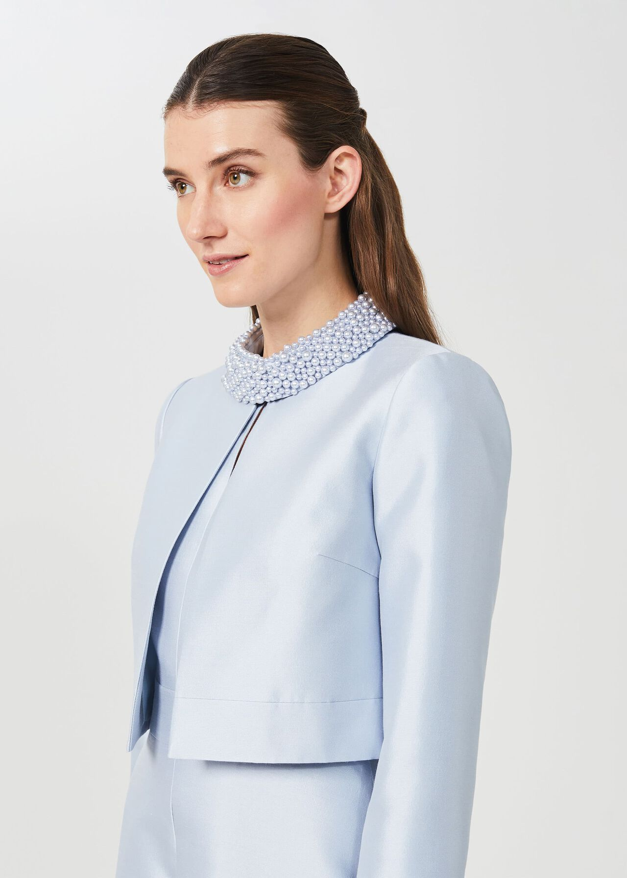 Marcella Silk Wool Jacket, Celeste Blue, hi-res