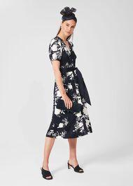 Indah Satin Floral Shirt Dress, Navy Ivory, hi-res