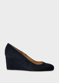 Emma Suede Wedge Court Shoes, Navy, hi-res