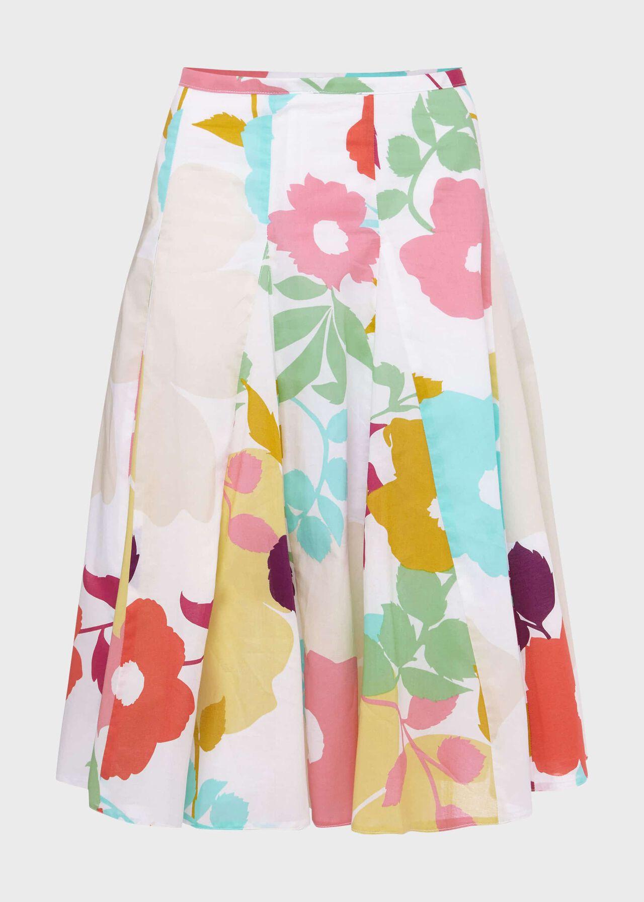 Melina Cotton Floral Full Skirt White Multi