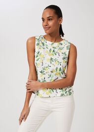 Maddy Printed Vest, White Yellow, hi-res