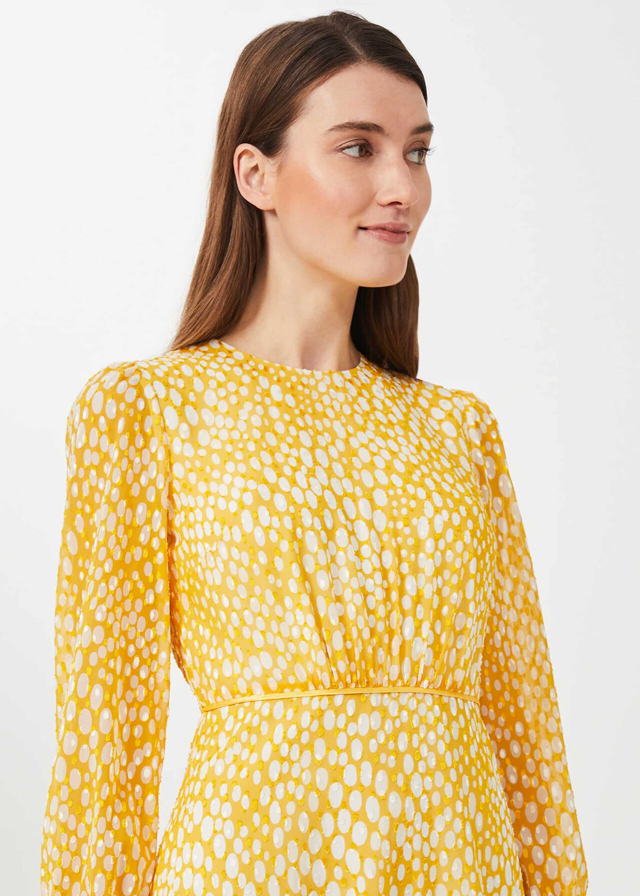 Lexi Jacquard Dress, Yellow Ivory, hi-res