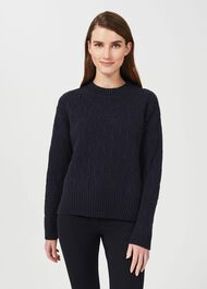 Prue Wool Cable Sweater, Navy, hi-res