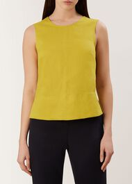 Halle Linen Top, Burnt Lime, hi-res